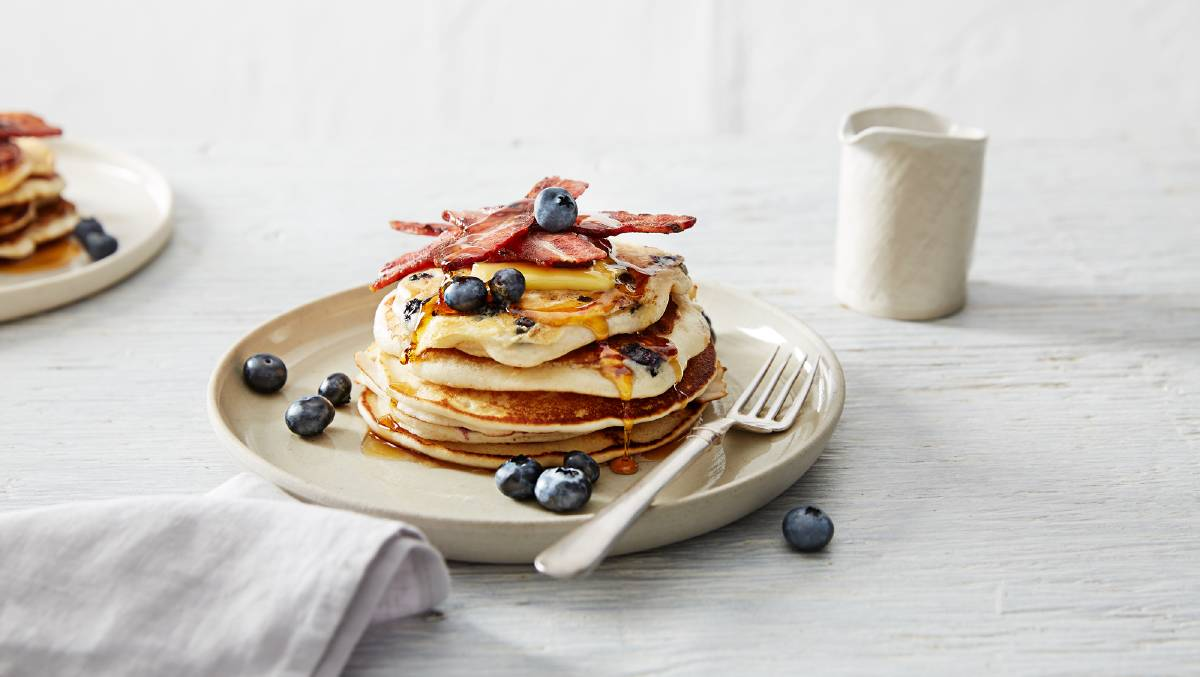 Bacon and maple blueberry pancakes. Picture: Supplied