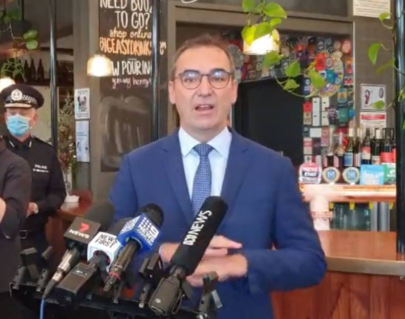 HAPPY: SA Premier Steven Marshall announces that the QR codes will give contact traces of the coronavirus
