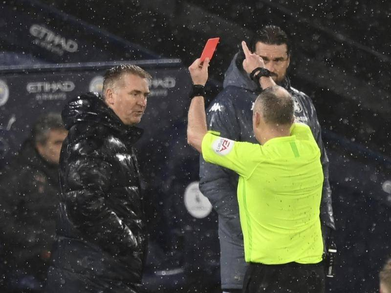 Aston Villa's Dean Smith, here being shown red by ref Jon Moss, has now been charged by the FA.