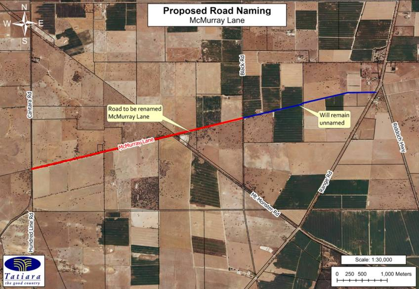 NAME CHANGE: A previously unnamed road (highlighted in red) will now be known as McMurray Lane, after Keith resident Anna Young reached out to Tatiara District Council in August.